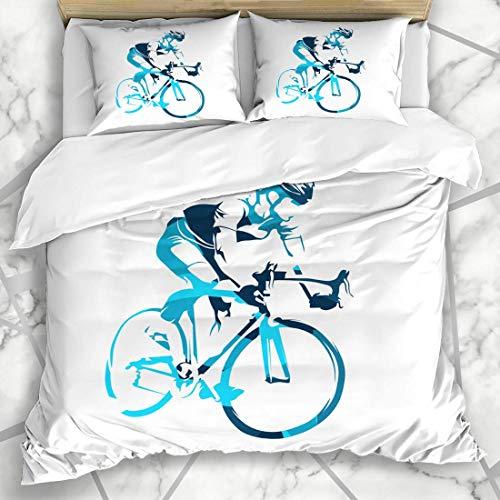 Soefipok Bettbezug-Sets Art Blue Cycle Road Radfahrer auf seinem Fahrrad Erholung Radfahren Sport Bike Triathlon Marathon Moderne Mikrofaserbettwäsche mit 2 Kissenbezügen -