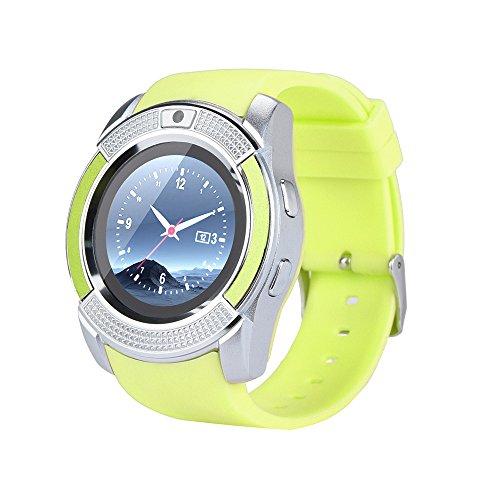 Preisvergleich Produktbild BZLine Bluetooth Smartwatch,  Smart Watch Uhr Intelligente Armbanduhr Fitness Tracker Armband Sport Uhr GSM 2G SIM Telefon Kamerad Für IOS Android Smartphone für Kinder Frauen Männer (Grün)
