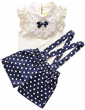 Amlaiworld Vestito per bambini,Bow camicia Top + floreale Polka Dot Strap Shorts Set