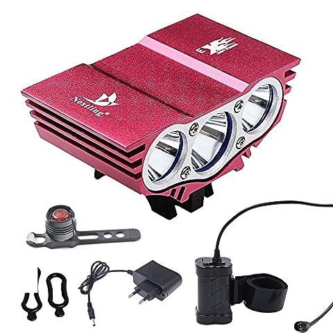 Ammy® Nestling logo Vélo Bicyclette 6600Lm Headlamp Cree LED phare lampe de poche noir avec 4x18650 batterie 8000mAh et Lumière arrière (Rouge)