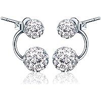Yumi Lok doppio in argento Sterling 925sfere di cristallo orecchini orecchini orecchino jackets ipoallergenico orecchini gioielli per donna donne ragazza