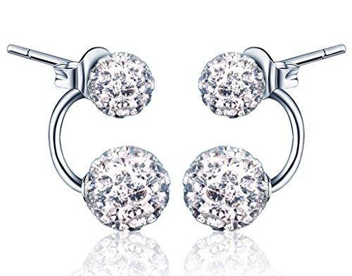 Yumilok 925 Sterling Silber Doppel Kristallkugeln Ohrhänger Ohrstecker Ohrring Jackets Hypoallergen Ohrschmuck für Damen Frauen Mädchen