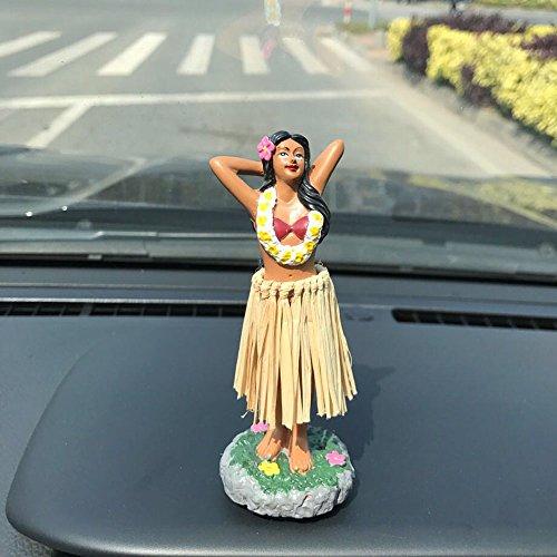"""Preisvergleich Produktbild Hula Mädchen, SMYER Posing Mini Armaturenbrett Puppe Raffia Rock, Hawaiian Geschenke für Dekoration 4.5 """"High"""