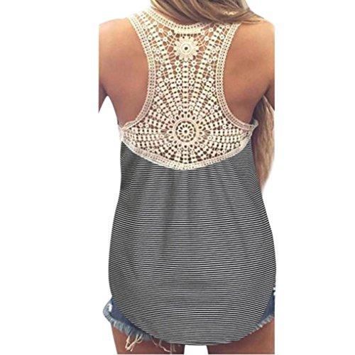 VEMOW Mode Frauen Damen Mädchen Sommer SeLace Weste Top Kurzarm Bluse Casual Tank Tops T-Shirt(Schwarz, 40 DE/L CN) -