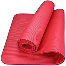 ROMIX Tappetino Yoga Antiscivolo Premium, 15 mm Ecocompatibile Tappeto Esercizi Fitness per Casa e in Viaggio, Alto Spessore e Densità Memory Foam, Non Tossico Tappetini Palestra - Rosso