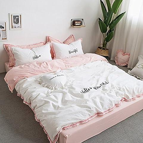 Fransen Betten Sets Weiß & Pink–memorecool Haustierhaus 100% Baumwolle Stickerei Prinzessin Raum Heimtextilien Bettbezug und Bettlaken Twin Mädchen Geschenke, White1 and Fitted, Twin