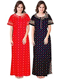 Trendy Fab Design Printed Round Neck Cotton Nighty for Ladies Nightwear Full Length Women Night Gown (Multicolor, Free Size) Combo Pack of 2 Peice