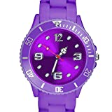 Taffstyle Farbige Sportuhr Armbanduhr Silikon Sport Watch Damen Herren Kinder Analog Quarz Uhr 43mm Lila