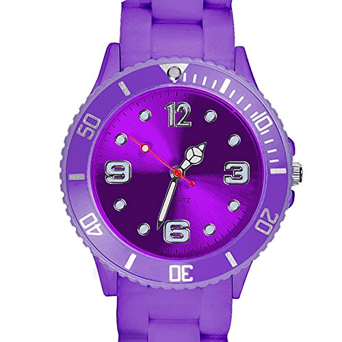 Taffstyle Farbige Sportuhr Armbanduhr Silikon Sport Watch Damen Herren Kinder Analog Quarz Uhr 39mm Lila -