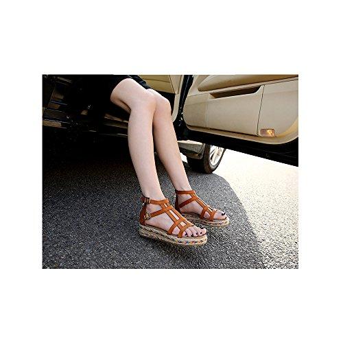 Femme Sandales Plate Cheville Plateforme Mode #10 Marron