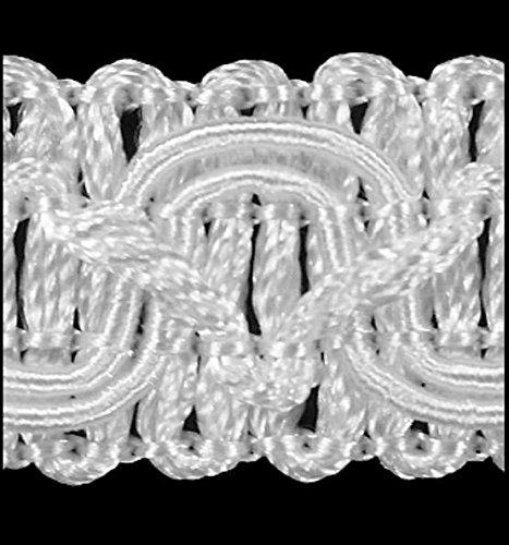 Posamentenborte 1,0 m / Breite 16 mm / Farbe Weiß / Brokatborten Dekoborte Bordüre Borte mit Posamenten Fransen Brokat Spitze Bordüre Antik...