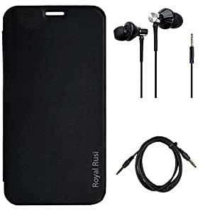 Royal Rusi Flip cover for Micromax Bolt Q338 With High Bass Dual Speaker Earphones & Aux Cable - Black