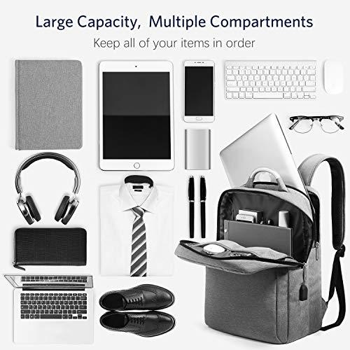 HOMIEE Mochila para Computadora Portátil de 15.6 Pulgadas con Puerto de Carga USB,Mochila de Ordenador Portátil de Negocios Impermeable,Gran Capacidad para El Trabajo (Gris)