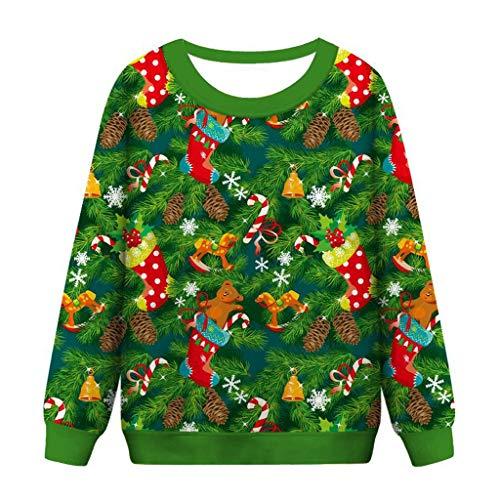 LianMengMVP Weihnachtspullover Weihnachtspulli Long Pullis Strickpullover Damen Hoodies Pulli Pullover Sweatshirt Kapuzenpulli (Grün, XXL)