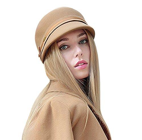 ilz Bowler Hut Weiche Komfortable Klassische Retro Cap Schmuck mit Dekorationen des Kopfumfangs Newsboy Kappe (Einfache Cat Kostüme Für Frauen)