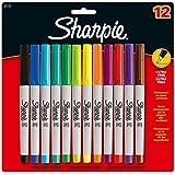 Sharpie - Juego de rotuladores de punta fina (12 unidades, 0,5 mm, tinta indeleble de varios colores)