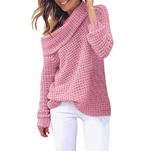 B-commerce Frauen Kalte Schulter Stricken - Damen Elastizität Lose Pullover Langarm Einfarbig Casual Pullover