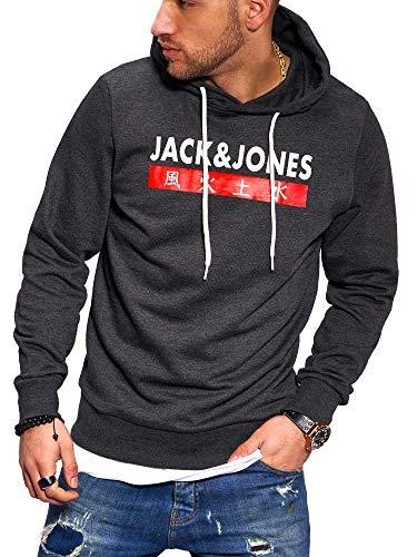 JACK & JONES Herren Hoodie Kapuzenpullover Sweatshirt Pullover Streetwear 4 Elements (Small, Dark Grey Melange)