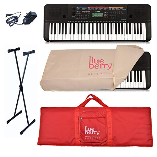 Yamaha PSR-E263 Digital Keyboard (61 Keys) With Blueberry Dust Cover, Red Bag and Stand