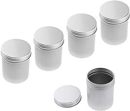 Fenteer 5 Packung Multipurpose Aluminium Dose Geltiegel Leerdose Cremedose Kosmetik Blechdose Schraubdose mit Schraubdeckel