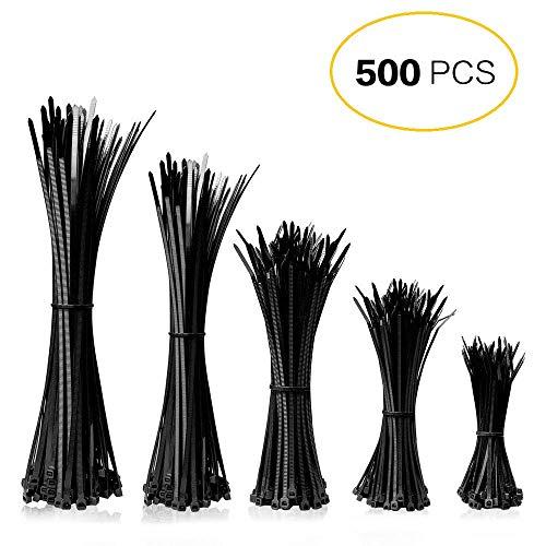 Kabelbinder, Mture Profi Kabelbinder Set 500 Stk, Schwarz 100/150 / 160/200 / 300 mm binder