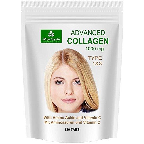 Advanced Collagen 1000mg + Aminoacidi + Vitamina C Compresse di collagene (120 Pc per 60 giorni) 1x120