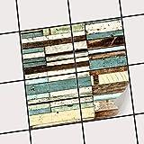 creatisto Fliesen-Sticker Aufkleber Folie Selbstklebend | Fliesenspiegel Dekorationssticker Bad renovieren Küche Bad Ideen | 20x20 cm Design Motiv Schiffsbruch - 4 Stück