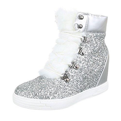 Ital-Design Keilstiefeletten Damen-Schuhe Keilabsatz/Wedge Pailetten DEKO Stiefeletten Silber, Gr 40, A-33-1-
