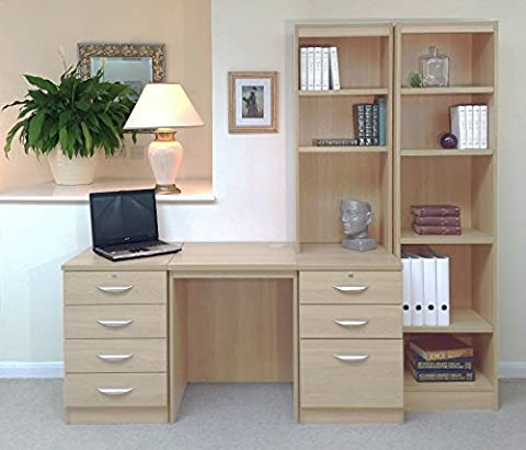 SET-15-IN-BE Beech Desk With Hutch Shelves Tall Narrow Bookcase Ideas Home Office Furniture UK Modular Computer Table Workstation Corner Stand Printer Laptop Only Sets Study