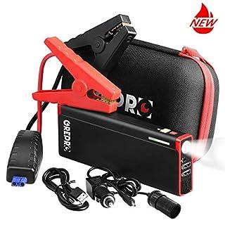 GREPRO Starthilfe Powerbank - 1500A 21000mAh Auto Starthilfe für 12V Auto,Tragbare Batterieladegeräte Anlasser mit Zwei USB-Ausgänge,LED Taschenlampe(bis zu 8.0L Benzin, 6.5L Diesel)