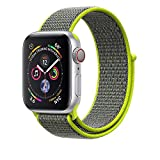 Corki para Correa Apple Watch 38mm 40mm, Nylon Reemplazo Sport Banda para Apple Watch iWatch Series 4 (40mm), Series 3/ Series 2/ Series 1 (38mm), Amarillo Neón