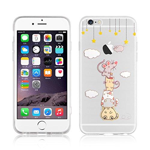"""iPhone 6 Hülle, JAMMYLIZARD Transparentes Sketch Back Cover aus Silikon mit Muster für iPhone 6 / 6s 4.7"""", KRATZENDE KATZE Sterne"""