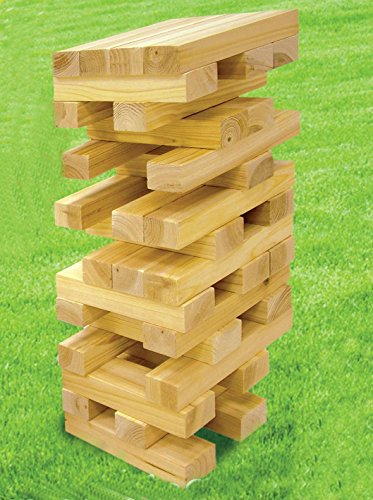 Pine Block (MEGA TUMBLE TOWER BLOCK OUTDOOR/GARDEN GAME SHINE PINE WOODEN BUILDING FAMILY FUN)