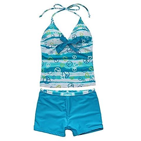 Freebily Mädchen Tankini Zweiteiler Schwimmanzug Badekleid Neckholder Bademode in Größe 116-176 Blau