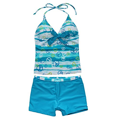 Freebily Mädchen Tankini Zweiteiler Schwimmanzug Badekleid Neckholder Bademode in Größe 116-176 Blau 170-176