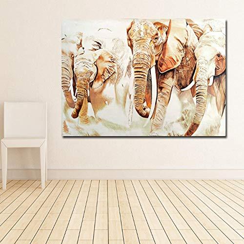 Cyalla Elefantes Africanos Pintura Retro Arte De La Pared Impresiones De La...