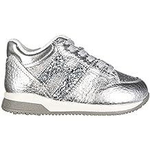 Hogan Scarpe Sneakers Bimba Bambina Pelle Nuove Elective h Grande Zip Argento