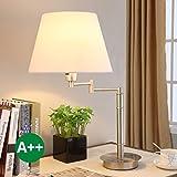 Lampe à poser Pola (Moderne) en Blanc en Textile/Tissu/Soie e. a. pour Salon & Salle à manger (1 lampe,à E27, A++) de Lampenwelt   Lampe à poser, lampe de bureau