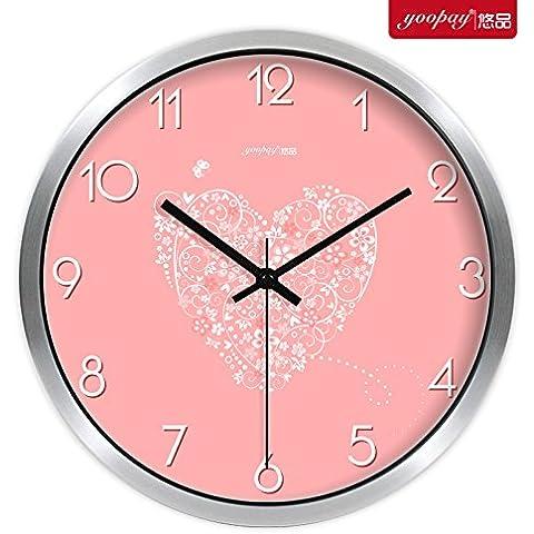 XB.T Regalos de Navidad Halloween regalo de boda creativas simples relojes de gran salón moderno dormitorio silencio reloj de cuarzo en la decoración del hogar colgando el cuadro ,10 , en caja metálica
