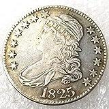 LKTingBax 1825 seltene Liberty Morgan Dollars 50 Cents Replik alte Münze - amerikanische US-alte Münze - Unzirkulierte Hobo Nickel USA Morgan Dollar Münze Kopien Art Machen das Leben einfacher