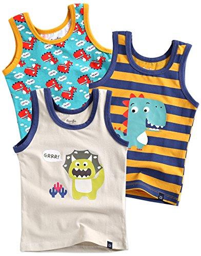 Vaenait baby 86-122 Jungen Kinder Unterhemd 3-Packung Top Undershirts Set Dinoland Cream S