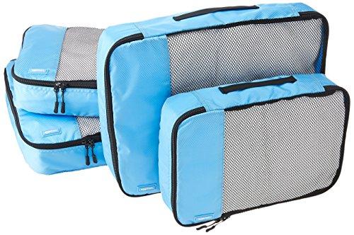 AmazonBasics Lot de 4sacoches de rangement pour bagage 2xTailleM/2xTailleL, Bleu Ciel