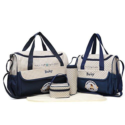 Preisvergleich Produktbild Satz von 2 Baby Wickeltaschen + Baby Bottle Bag + Lunch Kit + Wasserdichte Matte zum Austausch der kompakten Schichten ideal für Reisen