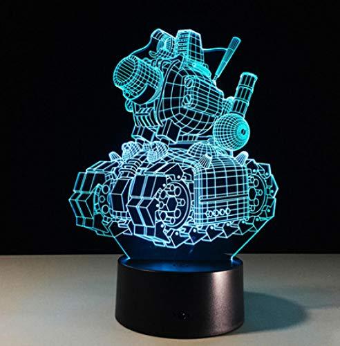 Joplc Maschine Tanks 3D kleine Nachtlicht Baby LED Lautsprecher leuchtet USB Schreibtischlampe kreative Kinder Geschenk (Laser-licht-show-maschine)