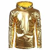 Pullover Shirt Herren Mantel, LHWY Neue Mode Kapuzenpullover Sweatershirt Frühling und Winter Herren Lackleder helles Hemd Langärmeliges Hemd Gut Aussehend Lässig Kleid Gold Silber (XL, Gold)