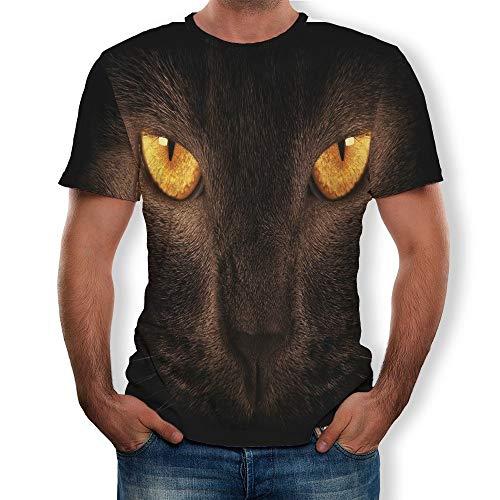 Effekt-jugend-t-shirt (ZLULU T-Shirt Sommer Herren Digitaldruck 3D Katzen Effekt Kurzarm Jugend Herren T-Shirt, XXL)