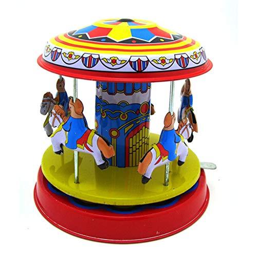 R-Cors Hölzernes Karussell-Klassische Spieluhr-Kinderkind-Mädchen-Weihnachtsgeburtstags-Hochzeits-Geschenk-Spielzeug-Weißblech Vitrine Spielzeug Fotografie Prop Merry-Go-Round (Mehrfarbig)
