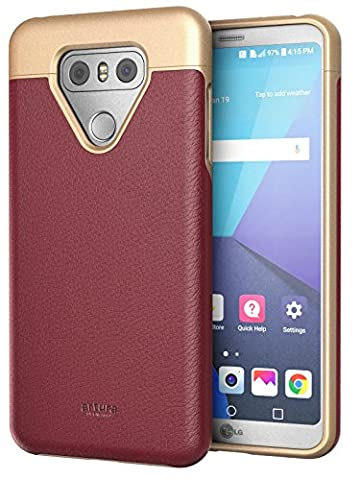 LG G6 Premium Vegan Leather Case - Artura Collection By Encased (Mulberry Red)