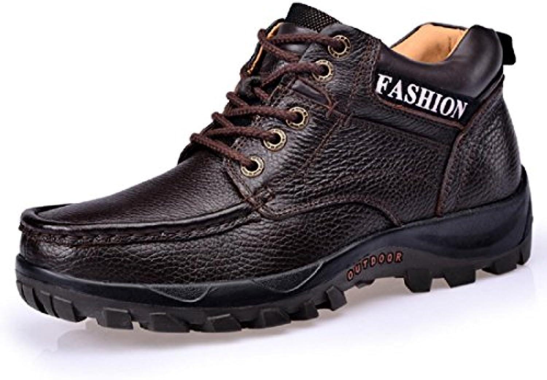Herren Herbst Winter Mode Martin Stiefel Plus Kaschmir Warm halten Lederschuhe Dicker Boden Schuhe erhöhen Rutschfest
