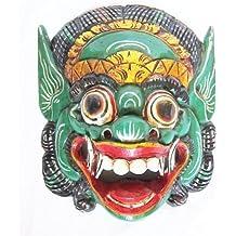 Máscara de madera pared Barong, deidad protectora balinés, hecho a mano en Bali, nuevo
